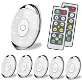 LED Puck Lights,Wireless Under Cabinet Lighting,Battery Powered Lights, Night Lights with Remote Control Dimmer & Timing Function,Closet Lights, 4000K Natural White, 6 Pack