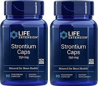 Life Extension Strontium Caps Mineral for Bone Health 750 mg 90 Veggie Caps - 2pc