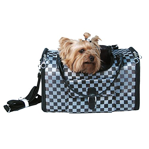 Anima Black and Silver Checkered Travel Pet Carrier - Medium