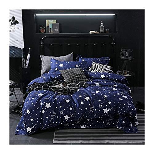 MYBHD Estrella Azul de la Tela Escocesa de 4 Piezas de Hoja de Cubierta Colcha Cubierta del edredón y Funda de Almohada Colcha de Cama (Color : 61001 013, Size : Twin 4pcs 150x200cm)