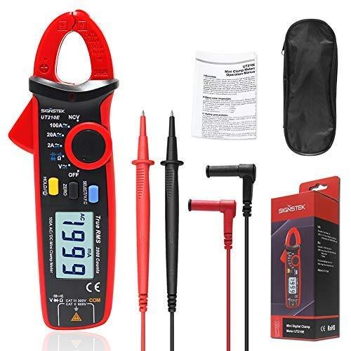Signstek UT210E Mini Digital Clamp Meter Multímetros DC Clamp Multímetro Pinza Voltímetro Amperímetro Digital Voltimetro Ohmímetro Amperímetro con LCD Retroiluminación