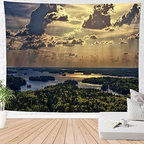 ANAZOZ Tapisserie Wandteppiche Seewald In Der Abenddämmerung Tapestry Wandtuch Wandbehang Polyester Beach Tapestry Stil 28 für Schlafzimmer 150X100Cm