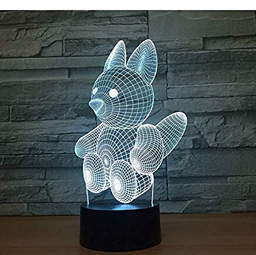 3D Illusion Night Light bluetooth Smart Control 7 & 16M Color Mobile App Led Vision Lovely Squirrel` USB Mood Desk Table Decorativo Baby Sleepping Atmosphere Toy