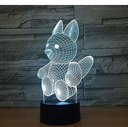 3D Illusion Night Light 7 colori Led Vision Lovely Squirrel` USB Mood Desk Table Decorativo Baby Sleepping Atmosphere Toy colorato Regalo creativo Telecomando