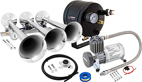 Vixen Horns Train Horn Kit for Trucks/Car/Semi. Complete Onboard System- 150psi Air Compressor, 0.5 Gallon Tank, 3 Trumpets. Super Loud dB. Fits Vehicles Like Pickup/Jeep/RV/SUV 12v VXO8805/3118