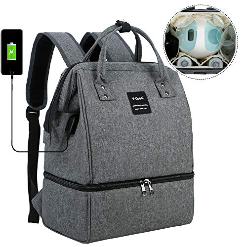 Breast Pump Backpack - Cooler and Moistureproof Bag Double Layer for Mother Outdoor Working Backpack with USB Charging Port, Large (Grey&Black)