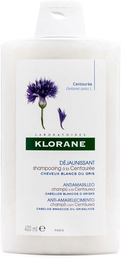 Klorane Champú Centaurea   Para Cabellos S Y Grises, Blanco, 400 Mililitro