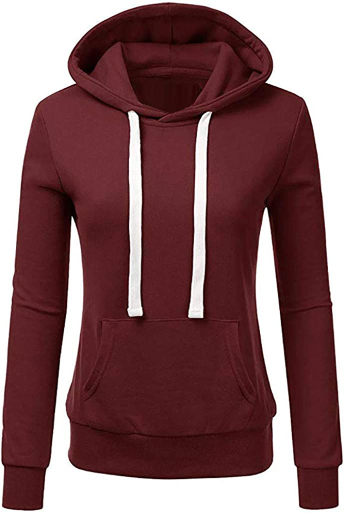 POTO Women Pullover Tops,Teen Girls Fashion Solid Hoodies Thick Top Long Sleeve Hooded Pullover Sweatshirts