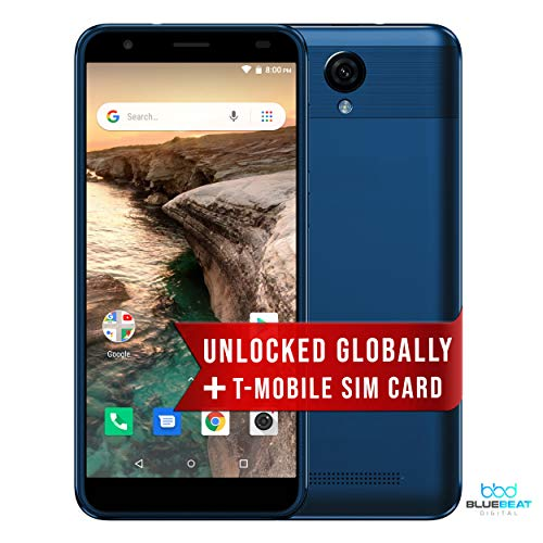 Unlocked 3G Cell Phone Gravity 55 GO Celular Desbloqueado Android 8.1 Smartphone Dual SIM | Ready to go with 1 Month of Unlimited Talk & Text and 2 GB of Data Ultra Mobile SIM (T-Mobile) (Blue)