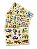 MABY - Juego de 3 Rompecabezas Puzzle de Madera, Alfabeto, vehiculos y Animales. Educativos y Divertidos para Niños. motricidad Fina Montessori Aprendizaje Preescolar Colores Vibrantes (1)
