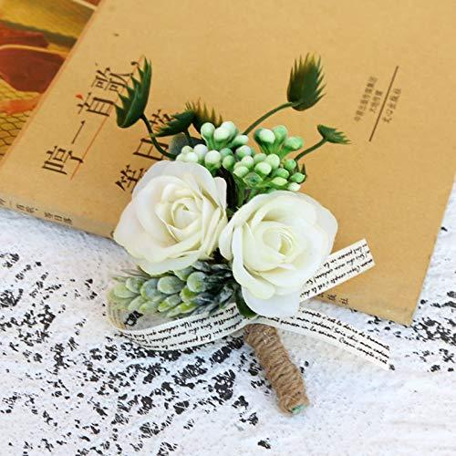 lehao Broche de flores artificiales para novio de boda, corsés y Boutonnieres para hombres, color (estilo 3)