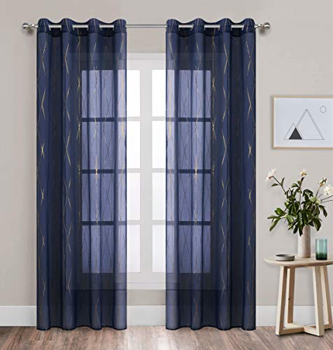 Navy Blue Sheer Curtains Gold Geometric Foil Print Voile Window Treatment for Nursey Bedroom 63 inch Length Grommets Thin and Soft 2 Panels