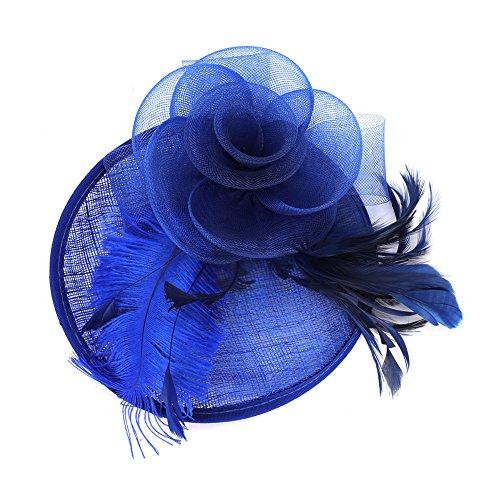 Fascinator Damen Frauen Braut Haarschmuck aus Mesh Federn Pillbox-Hut elegant Netzschleier vintage Headwear Haar Accessoire Kopfbedeckung Blumen Stirnband für Karneval Tea Party Cocktail Cosplay