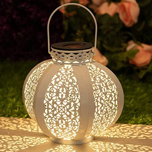 GloBrite Solar Lantern Light - Outdoor Hanging Garden Lights Metal Lamp for Patio, Outside or Table (White)
