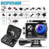 Action Cam 1080p , Bopower 4K 12MP HD-Aktion-Kamera FHD 2,0 Zoll 170  Weitwinkel 30M Wasserdicht...