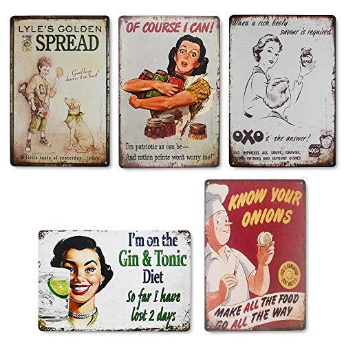 QUMENEY 5 x Vintage-Wandschild aus Metall mit lustigem Zitat im rustikalen Stil, einzigartige Wanddekoration für die Küche, Geschenk für Zuhause, Bar, Café, Diner und Kneipe, Café (30 x 20 cm)