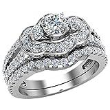 Three Stone Split Shank Wide look Anniversary Engagement Ring Set 14K White Gold...