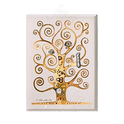 Acca - 188DH.70 - Bild mit Motiv Lebensbaum von Klimt - Materialien: 925er Silber, Holz, Kristalle - Größe 30x 40cm