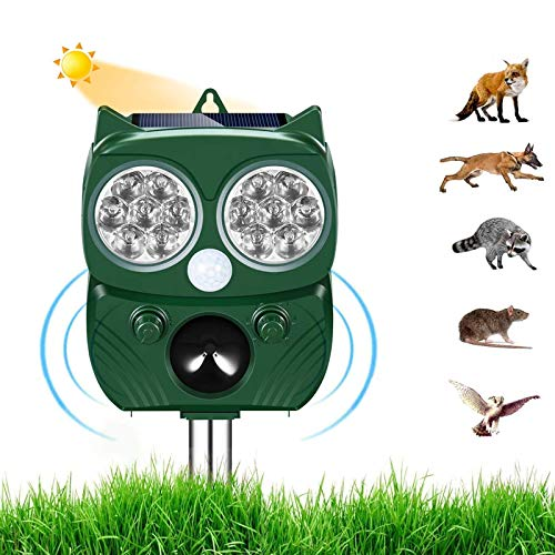 Repellente per Gatti,Ultrasuoni Piccioni,IP66 Impermeabile, ad Energia Solare e con Fequenza Regolabile per Allontanare Cani, Gatti, Topi ed altri. Utile per Fattoria, Giardino, Prato, Cortile