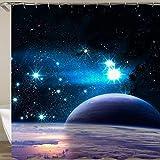 N / A Tela de Cortina de Ducha Espacial Cortina de Ducha de baño 3D Cortina de baño Azul Gancho Cortina de Ducha Impermeable y a Prueba de Moho A10 150x180cm