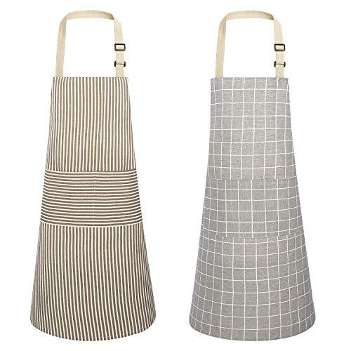 HB life 2Pack Schürze Kochschürze Sterne Schürze 82x71.5cm Baumwolle Leinen Verstellbare Küchenschürze Weiche Kochschürze mit Tasche für Damen und Männer (Gitter/Vertikalstreifen)