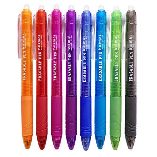 Retractable erasable pens 8 colors,ariel-gxr bolígrafos de punta fina de 0,5 mm con goma de borrar, bolígrafos de tinta de gel retráctiles para niños, estudiantes y adultos, paquete de 8 colores