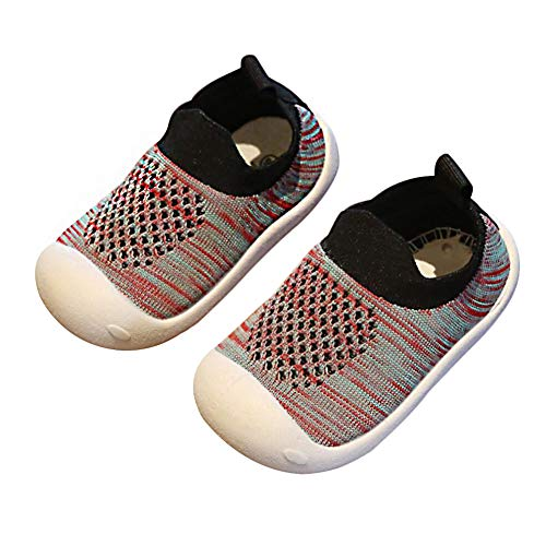 DEBAIJIA Baby First-Walking Shoes 1-4 Years Kid Mesh Breathable Trainers Toddler Infant Boys Girls Soft Sole Non Slip Canvas Breathable Lightweight TPR Material Slip-on Sneakers Outdoor