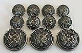 11 Pieces Antiqued Black Silver Metal Blazer Button Set - Crown Phoenix - for Blazer, Suits, Sport Coat, Uniform, Jacket