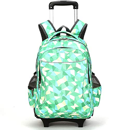 FREETT Girl Trolley Backpack, Child Luggage Case Bag with Wheeled and Laptop Compartment, University Trolley Suitcase for School Travel, Green, 39 * 26 * 53 cm