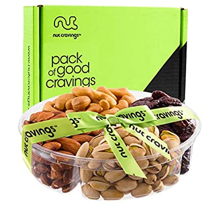 Nuts Gift Platter For Her Him Family Men Women Holiday Dried Fruit and Nut Bow Food Gift Basket Prime Delivery Tomorrow Healthy Edible Arrangements regalos para navidad under 30