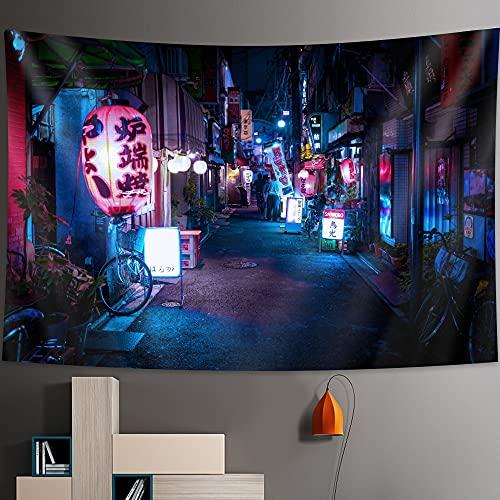 PPOU Tapiz de la Vida Nocturna de Tokio Estilo japonés Colgante de Pared decoración del hogar Fondo Bohemio Tela Colgante Manta de Tela A10 100x150cm