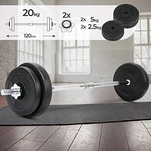 Physionics Barra de musculación de Pesas 20 kg - Barra Larg