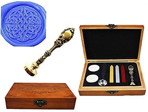MNYR Vintage Celtic Knot Luxury Wood Box Bronze Metal Peacock Wedding Invitations Gift Card Paper Stationary Envelope Seal Custom Logo Wax Seal Sealing Stamp Wax Sticks Melting Spoon Wood Gift Box Kit