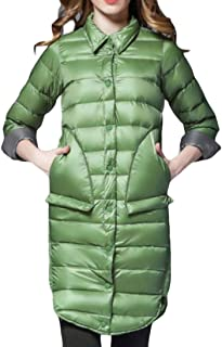 Women Winter Solid Thicken Lapel Mid Long Down Quilted Jacket Coats