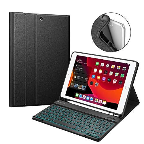 Fintie Tastatur Hülle für iPad 10.2 Zoll 7. Gen 2019 - Soft TPU Rückseite Gehäuse mit Pencil Halter, magnetisch Abnehmbarer QWERTZ Bluetooth Tastatur mit Hintergrundbeleuchtung in 7 Farbe, Schwarz