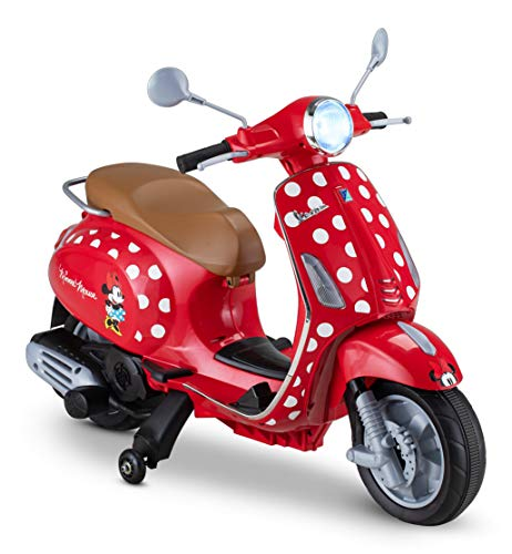 Kid Trax Toddler Minnie Mouse Vespa Scooter Electric Ride On Toy, 3-5 Years Old, 6 Volt, Max Weight 60 lbs, Red (KT1583AZ)