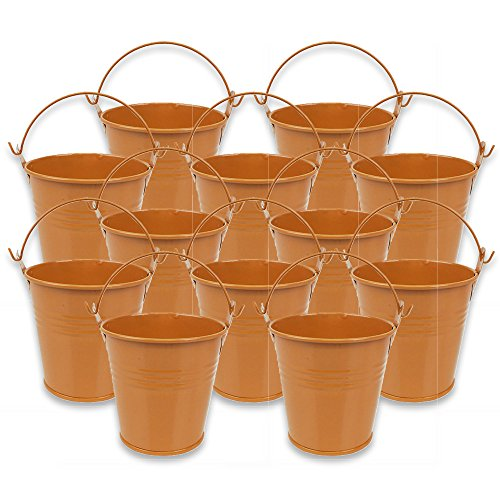 Just Artifacts Mini 3-Inch Height Metal Crayon/Pencil Holder Favor Bucket Pail (12pcs, Orange) - Metal Favor Buckets and Craft Supply Holders for School, Birthday Parties and Events!