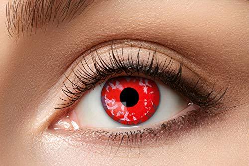 Zoelibat Farbige Kontaktlinsen für 12 Monate, Rote Blume, 2 Stück, BC 8.6 mm / DIA 14.5 mm, Jahreslinsen in Markenqualität für Halloween, Fasching, Karneval, rot