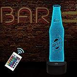 Fullosun Luz nocturna 3D, diseño de botella de cerveza, decoración para bar, cocina, mesa de comedor con 16 colores cambiantes, mando a distancia, función de atenuación