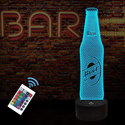 FULLOSUN 3D nachtlicht, Bierflasche Illusion lampendekoration für bar, Home küche, esstisch mit 16 Farben ändern/Fernbedienung/dim Funktion