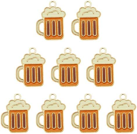 JJG 20pcs Enamel Gold Plated Cup of Beer Dainty Dangle Charms for Jewelry Making Necklace Bracelet product image