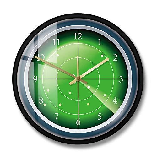 Reloj de Pared de diseñador de Radar Verde Militar, Pantalla Hud con Arte de Pared de Destino, escaneo de Aviones, Reloj de Pared Decorativo de tráfico aéreo, Marco de Metal