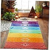 NiceButy Fashion Mandala Rainbow Blanket Wandbehang Tapisserie Boho-Streifen Beach-Handtuch Sommer Quaste Bunte