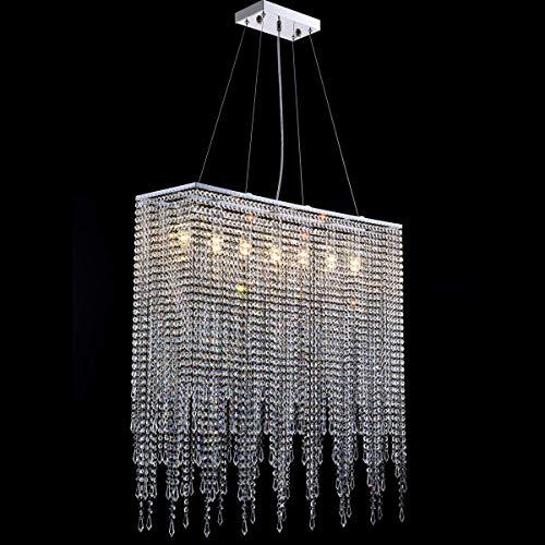 7PM Rectangle Crystal Chandelier Modern Clear Beaded Pendant Light Chrome Hanging Lighting Fixture for Living Room Dining Room