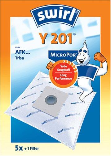 Swirl Y 201 MicroPor Staubsaugerbeutel für AFK Staubsauger, saugstark, 5 Beutel + 1 Filter