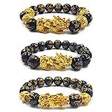 3 braccialetti Pi Xiu Feng Shui in ossidiana nera con placcatura in oro, motivo bestia sacra cinese Pi Xiu, attrae ricchezza e buona fortuna, braccialetto regolabile con perline per uomini e donne