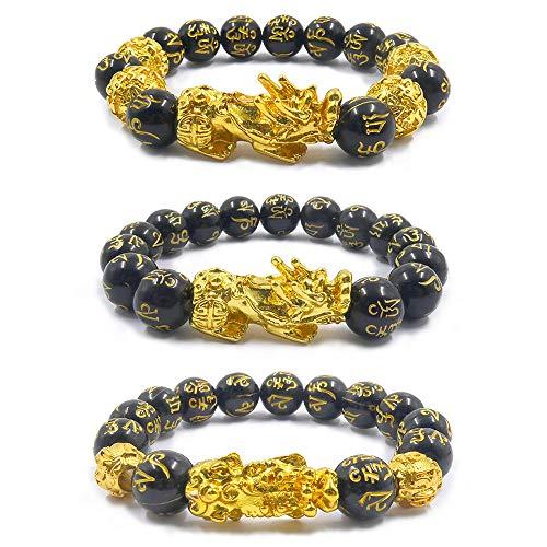 3 braccialetti Pi Xiu Feng Shui in ossidiana nera con...
