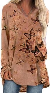 GUOCAI Women's Long Sleeve Tunic Top V Neck Print T-shirt Blouse