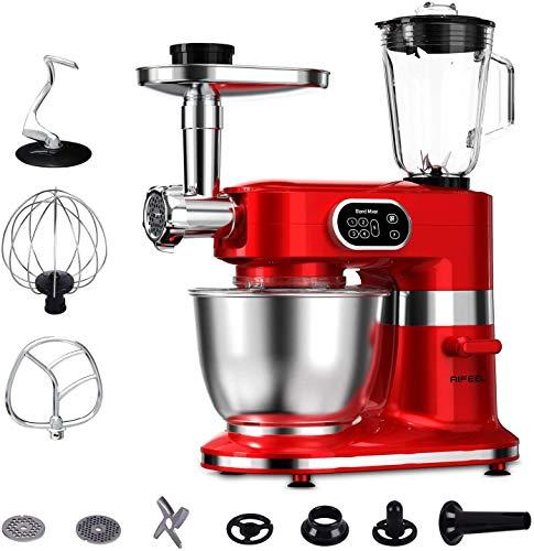 Aifeel 1000W Batidora Amasadora 7L Robot de Cocina 8 en 1 Multifunción Amasadora de Pan Para Repostería con 3 accesorios de mezcla, Licuadora, Picadora, máquina para hacer pasta y galletas etc.-Rojo