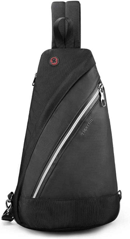 Outdoor Men's Chest Bag Messenger Bag Travel Leisure (color   Black, Size   S)